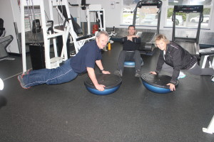 Scott,Neil and Tricia having fun with Bosu Ball (stronger core)